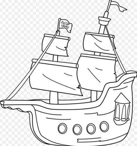 Mẫu tranh tô màu cho bé hình chiếc tàu cướp biển