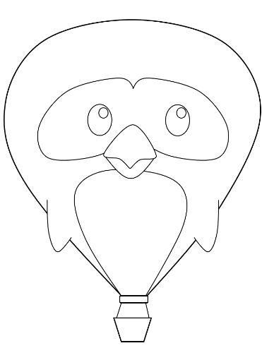 Mẫu tranh tô màu dành cho bé hình khinh khí cầu ngộ nghĩnh