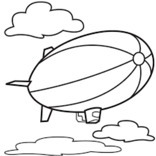 Mẫu tranh tô màu cho bé hình khinh khí cầu đang lơ lững trên bầu trời