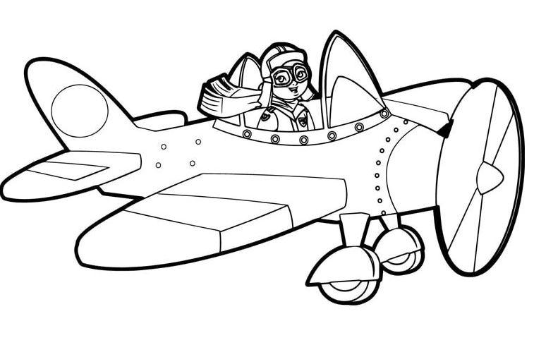 Mẫu tranh tô màu cho bé hình phi công và máy bay