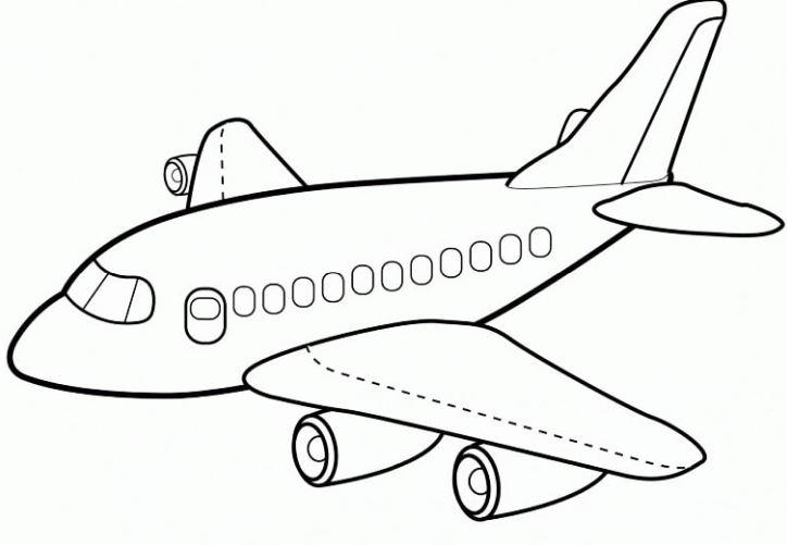 Mẫu tranh tô màu hình máy bay dành cho bé