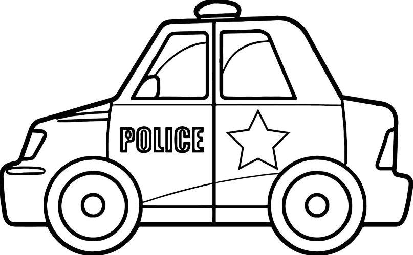 Mẫu tranh tô màu xe cảnh sát đang làm nhiệm vụ dành cho bé