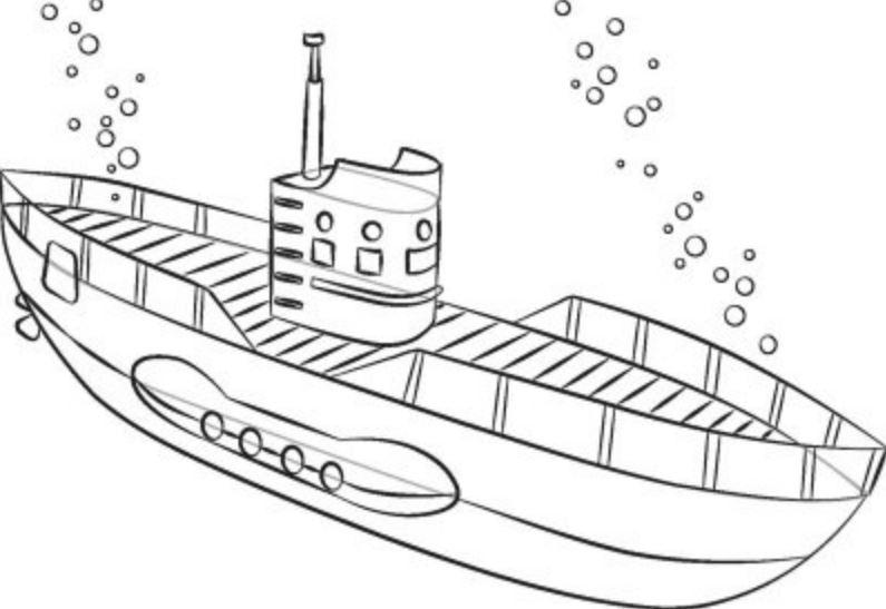 Mẫu tranh tô màu cho bé hình chiếc tàu ngầm dưới đáy đại dương