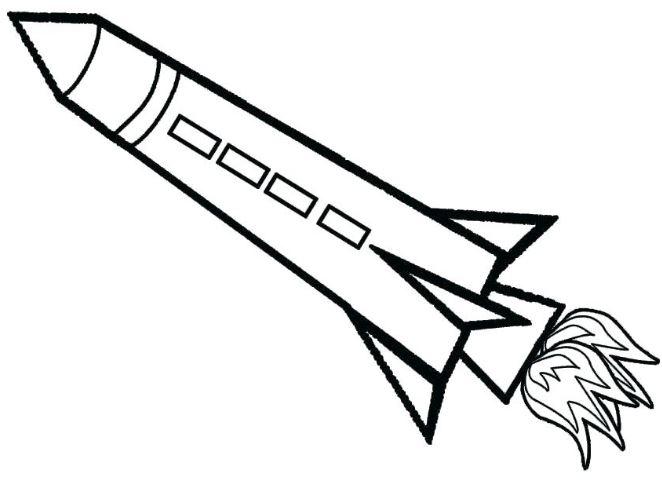 Mẫu tranh tô màu cho bé hình tên lửa