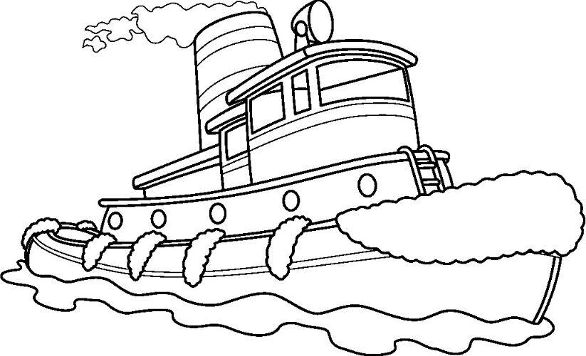 Mẫu tranh tô màu cho bé hình chiếc tàu đang chạy