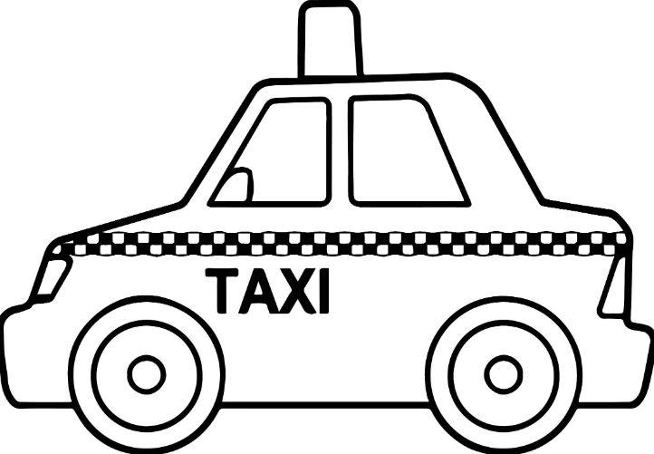 Mẫu tranh tô màu chiếc xe taxi dành cho bé