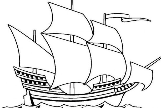 Mẫu tranh tô màu chiếc thuyền bườm dành cho bé