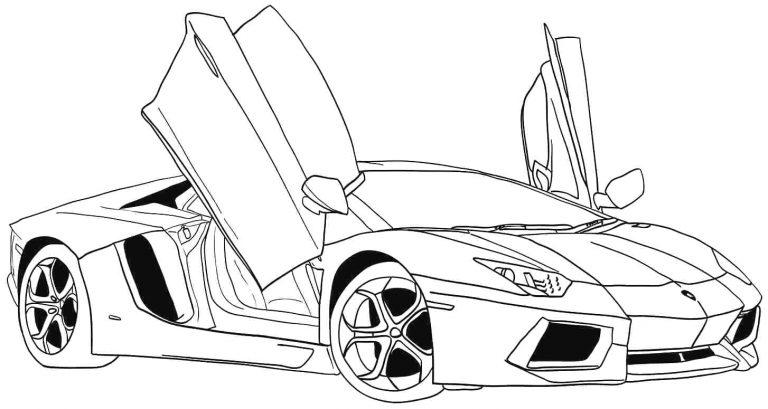 Mẫu tranh tô màu hình siêu xe xe