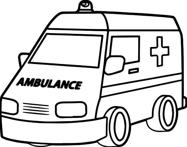 Mẫu tranh tô màu cho bé hình xe cứu thương
