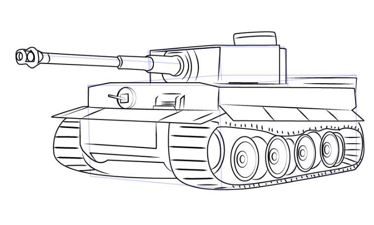 Mẫu tranh tô màu cho bé hình xe tăng
