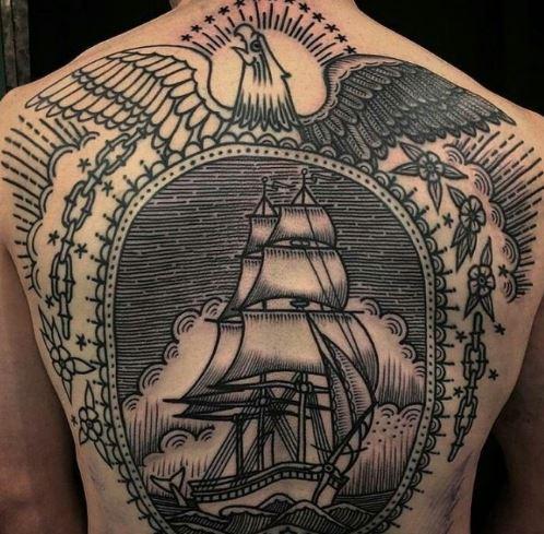 Mẫu hình xăm kín lưng ở nam hình chiếc thuyền đang lượn sóng trong thật kì bí