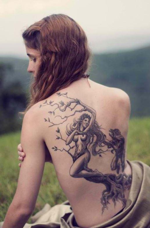 Mẫu hình xăm ở lưng dành cho nữ hình cô gái