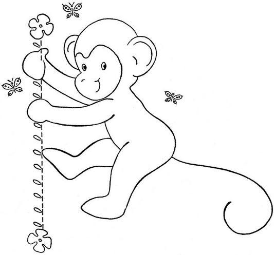 Mẫu tranh tô màu cho bé hình chú khỉ dễ thương dành cho bé