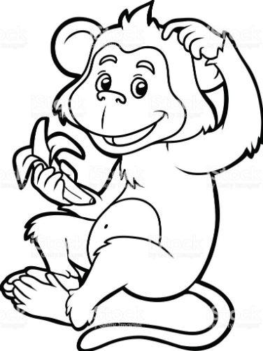 Mẫu tranh tô màu cho bé hình chú khỉ đang ăn chuối