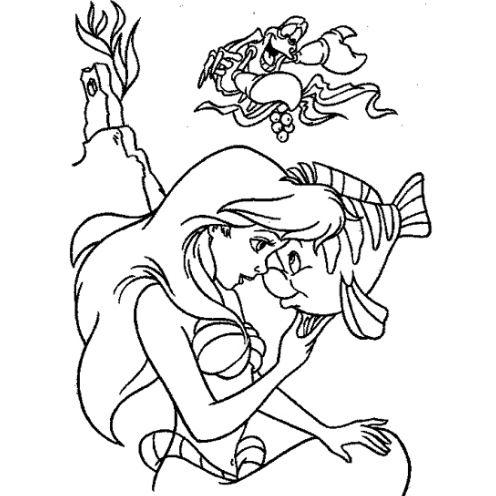 Mẫu tranh tô màu cho bé gái hình màng tiên cá đang vui đùa với chú cá nhỏ