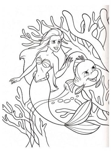 Mẫu tranh tô màu nàng tiên cá dễ thương dành cho bé gái