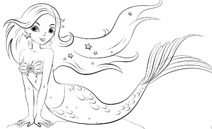 Mẫu tranh tô màu cho bé gái hình nàng tiên cá xinh đẹp