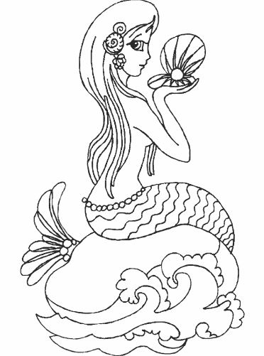 Mẫu tranh tô màu cho bé gái hình nàng tiên cá đang ngắm ngọc trai