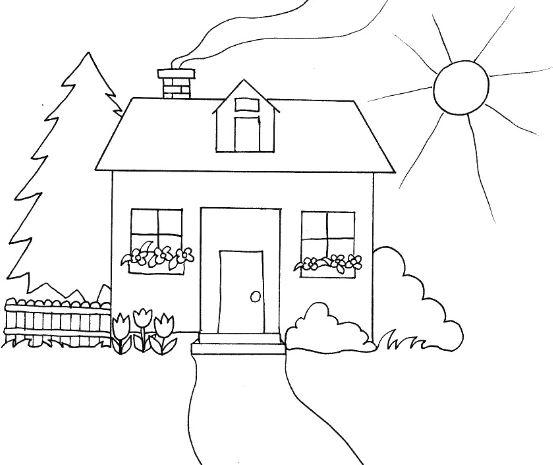 Tranh tô màu cho bé hình phong cảnh quê hương đơn giản dành cho bé tập tô