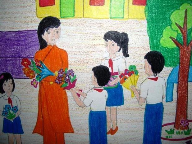 Tranh vẽ hình các học trò gứi tặng những bó bông và những lời chúc dành tặng cho cô giáo nhân ngày quốc tế phụ nữ 8-3
