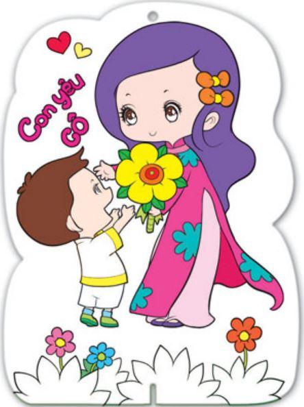 Tranh vẽ hình cậu học trò tặng bông cho cô giáo nhận ngày quốc tế phụ nữ
