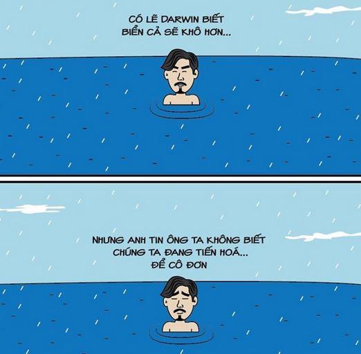 Hình ảnh cô độc của Đen Vâu giữa biển nước có lẽ trùng với cảm xúc của không ít người. Ảnh: Truyện cổ remix.