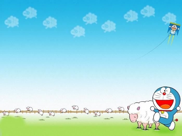 Hình nền slide thuyết trình đẹp - cừu và doremon