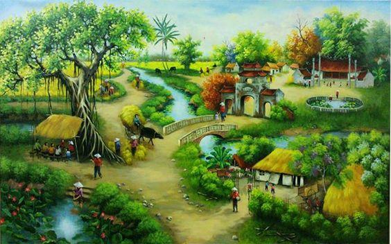 Tranh phong cảnh làng quê Việt Nam đẹp