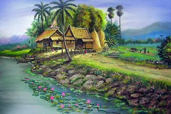 Tranh sơn dầu phong cảnh thiên nhiên làng quê đẹp