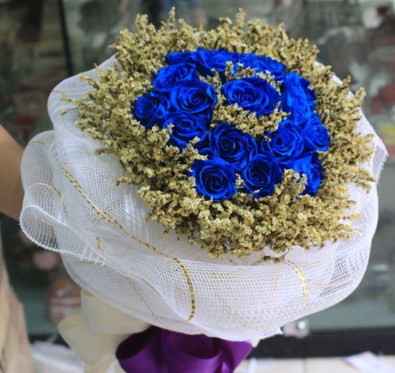 Hình ảnh đẹp bó hoa hồng xanh làm quà tặng